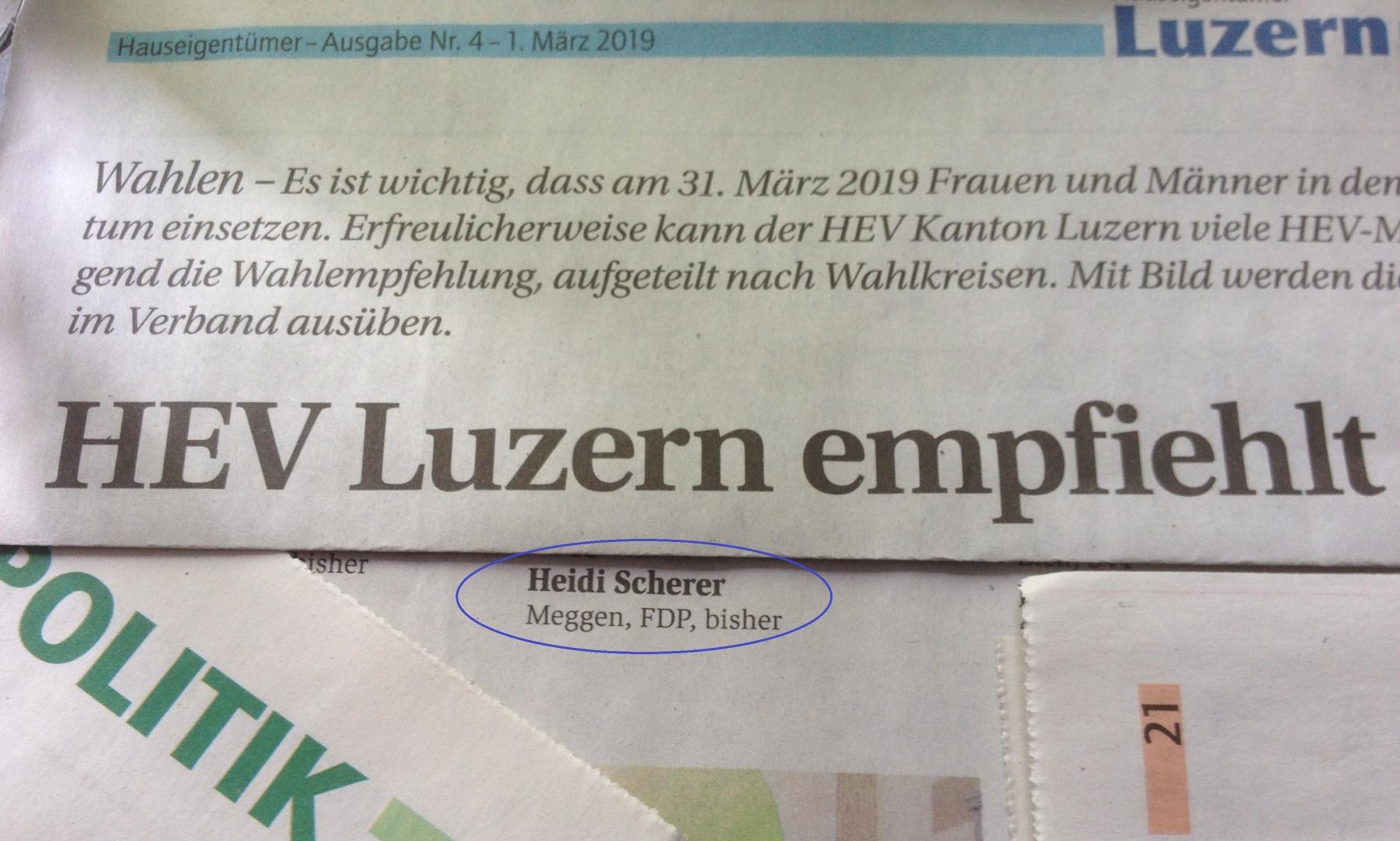Danke an den HEV Luzern für die Unterstützung und den Wahlsupport!